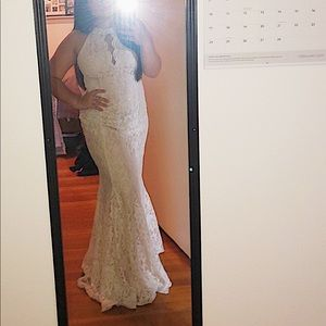 elegant long ivory lace formal dress